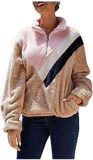 Kulywon Women Color-Block Warm Fleece Long Sleeve Sweatshirt Zipper Pullover Jacket Tops