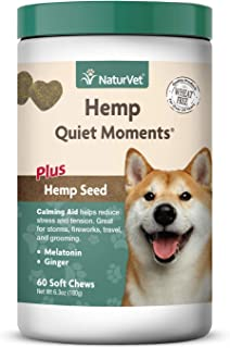 NaturVet – Hemp Quiet Moments Calming Aid for Dogs - Plus Hemp Seed – Helps Reduce Stress & Promote Relaxation – Great for Storms, Fireworks, Separation, Travel & Grooming
