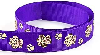 Gold Sparkle Cheetah Leopard Paw Animal Print Cheer Grosgrain Polyester Ribbon 10 Yards 7/8