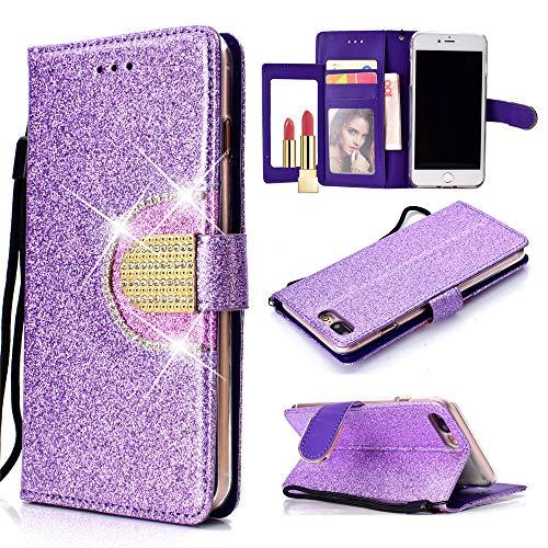 Capa carteira XYX para iPhone 7 Plus/iPhone 8 Plus, [função espelhado][Kickstand][Fivela de diamante][Compartimentos para cartões] Capa carteira protetora de corpo inteiro de couro sintético brilhante com glitter, roxo