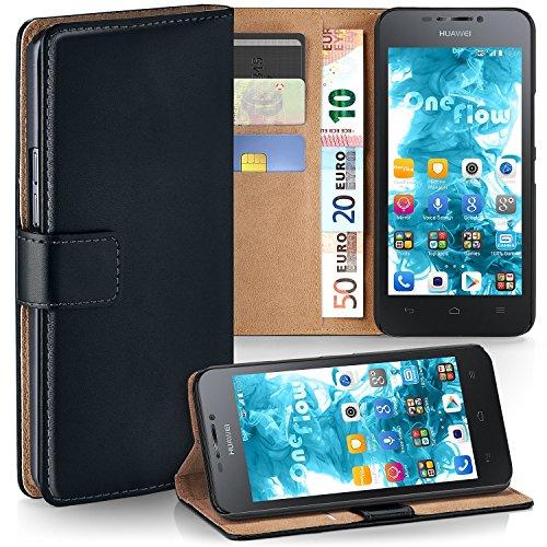 MoEx Premium Book-Hülle Handytasche passend für Huawei G630 | Handyhülle mit Kartenfach & Ständer - 360 Grad Schutz Handy Tasche, Schwarz