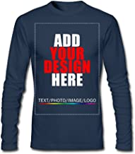 Men Custom Long Sleeve T-Shirt, Design Your Personalized Shirt, Image Photo Text