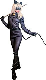 DAZCOS Unisex US Size Black Cat Cosplay Costume Jumpsuit with Eyepatch Ears
