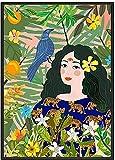 Marruecos abstracta moda niña cartel estilo nórdico estilo arte colorido plantas lienzo pintura de pared sala de estar casa vogue chica imagen decoración 50x70cmx1 sin marco