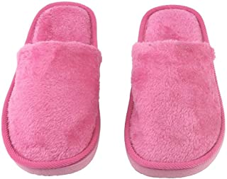 Plush Indoor Home Women Men Anti Slip Shoes Soft Warm Cotton Silent Slippers(Rose Red 40-41) KKGGS