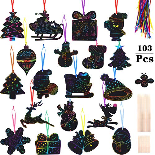 103 Piezas Papel de Rascar Navideño Adornos de Navidad de Rasguño Arcoiris Papel de Rascar con Agujas de Madera y Cinta para Decoración de Fiesta de Navidad, 20 Estilos
