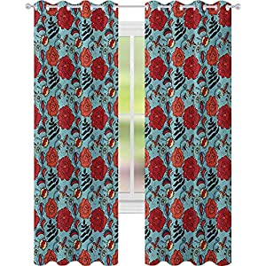 Thermal Insulated Blackout Curtains, Fern Leaves Flower Petals Venus Flytrap Flourishing Mother Earth Beauty Pattern, Blackout Window Drape for Bedroom, Multicolor