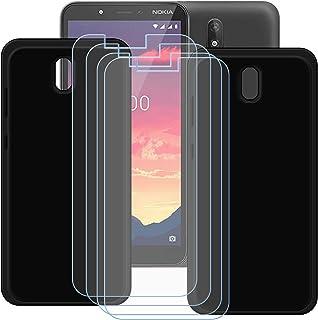 TTJ [2 st. svart fodral till Nokia C2 [4 stycken] HD pansarglas, mobiltelefonfodral silikon skyddande fodral TPU-fodral mo...