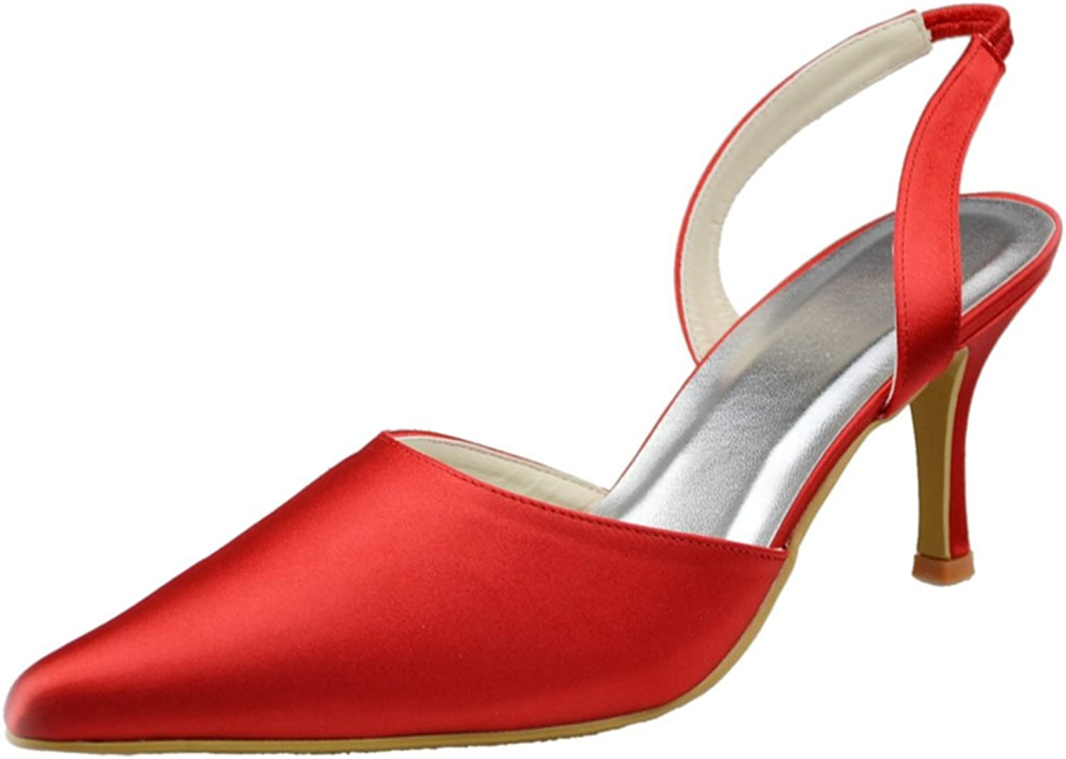 Minitoo GYAYL083 Womens 3 Inch Heel Open Toe Satin Evening Party Bridal Wedding Slingback shoes Pumps