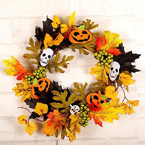 DDELLK Kerstkrans slingers, kunstmatige herfstkrans, halloweenkrans herfstdecoratie, led-krans verlichting voor wooncultuur huwelijksfeest en geschenken No Light schedel