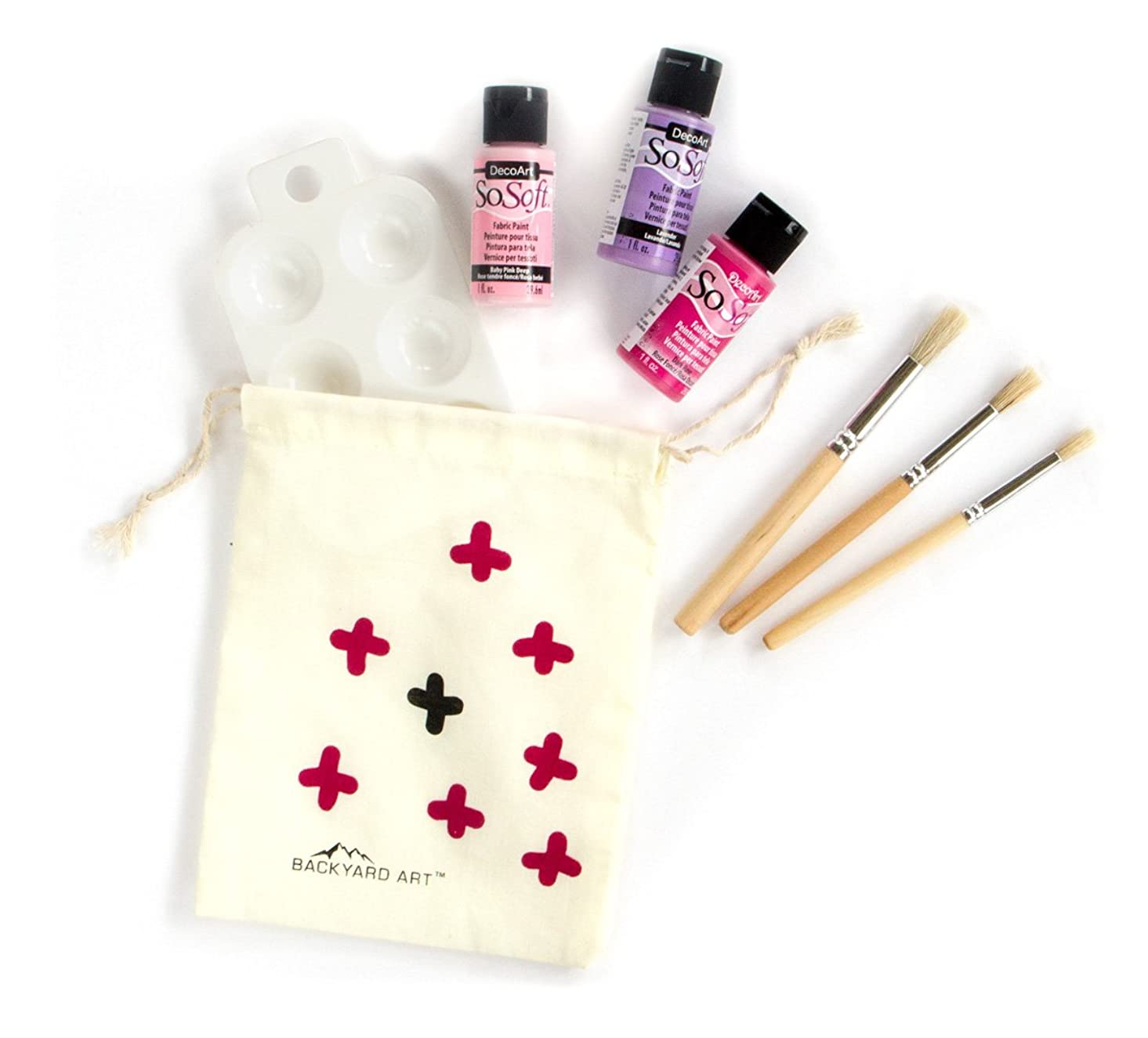 Fabric Painting Set - Make Your Own T-Shirts, Onesies, Totes and More - 3 DecoArt SoSoft Paints in Pink, Rose, and Lavender, 3 Brushes and a Palette pjxnx022043
