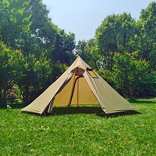 Heeyoo Teepee Tent with Metal Pole and Stove Hole, 2-3 Person Camping Pyramid Hot Tent, Ultralight 4 Season Tent for Hiking Camping Climbing, Khaki