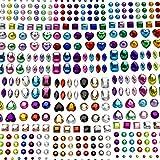 AIEX 6 Blätter 486 Stück Selbstklebend Strass Sticker Crystal Gem Aufkleber Sortiert Farben und...