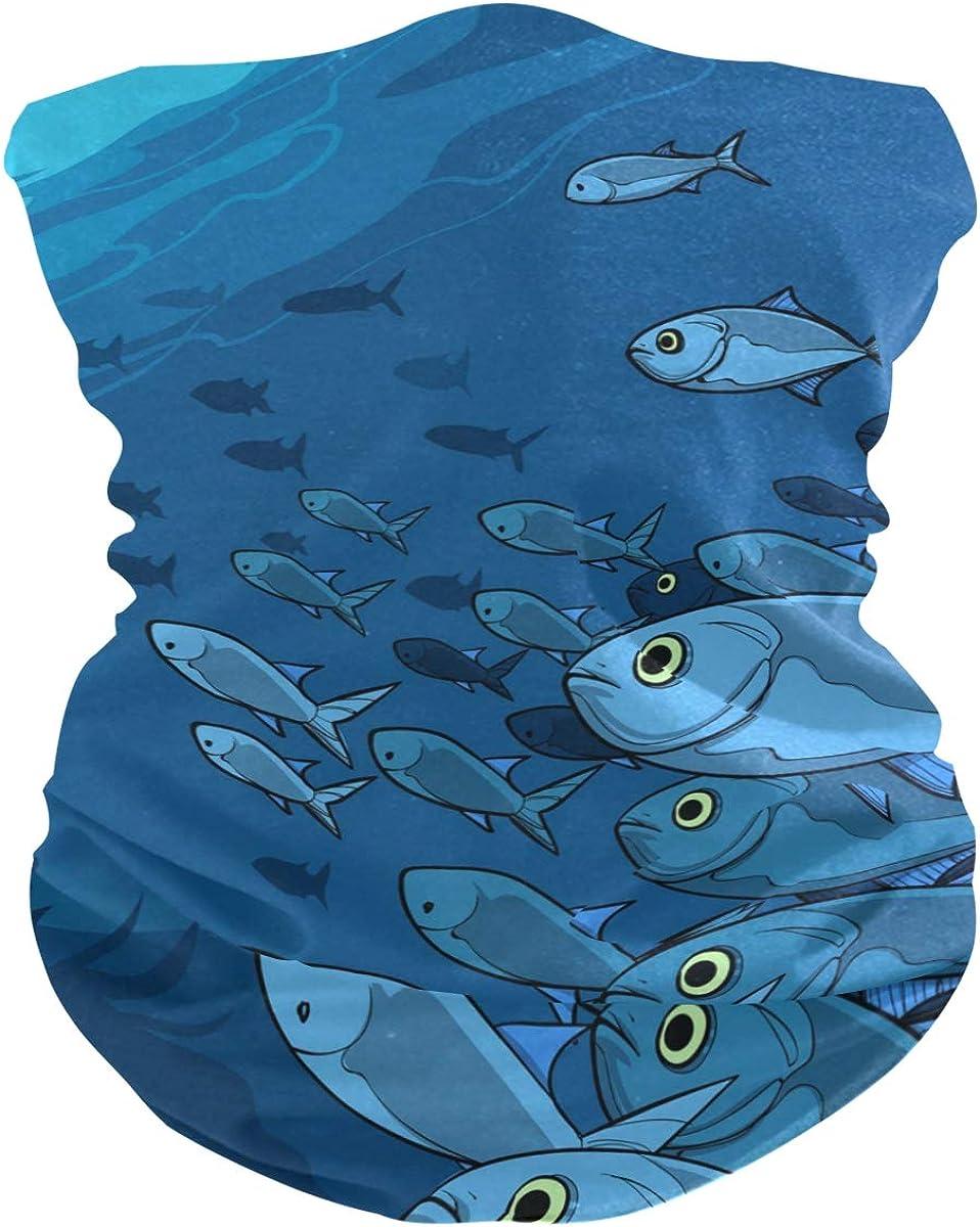 School Of Fishes In Hand Drawn StylePrint Headband Face UV Sun Protection Mask Neck Gaiter Magic Scarf Bandana Headwear Balaclava for Women Men