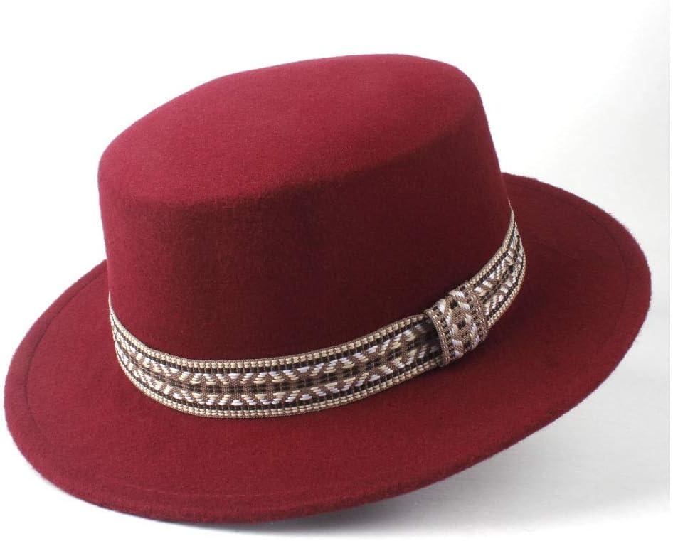LIRRUI New Men Women Fashion Flat Top Hat Winter Wide Brim Hat Wool Trilby Fedora Hat Panama Retro Hat Size 56-58CM (Color : Wine red, Size : 56-58)