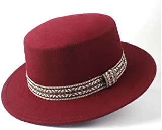 2019 Mens Womens Hats Unisex Men Women Flat Top Pop Church Soft Autumn Winter Fashion Women Flat Top Hat Winter Wide Brim Hat Wool Trilby Fedora Hat Panama Hat (Color : Wine red, Size : 56-58)
