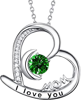 I Love You Mom Jewelry Birthday Necklace for Mom Wife Christmas Jewelry Gift Women LC Emerald May Birthstone Necklace Anniversary Gift for Her Heart Moon Pendant Sterling Silver