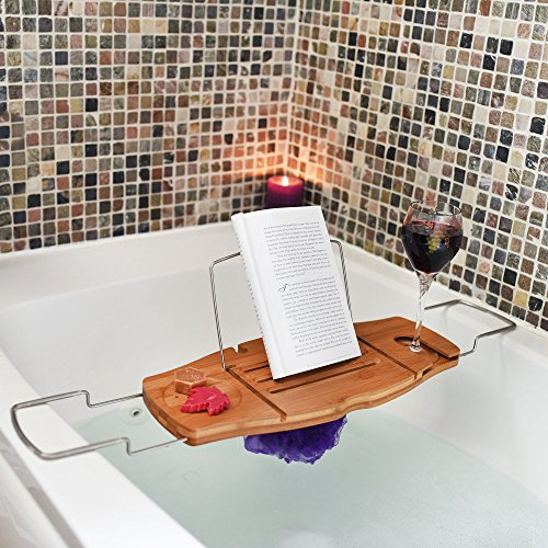 Soothing Styles Holztisch für die Badewanne mit Halterung für Weinglas und wasserdichter Leseständer für Smartphones und Tablets Beige
