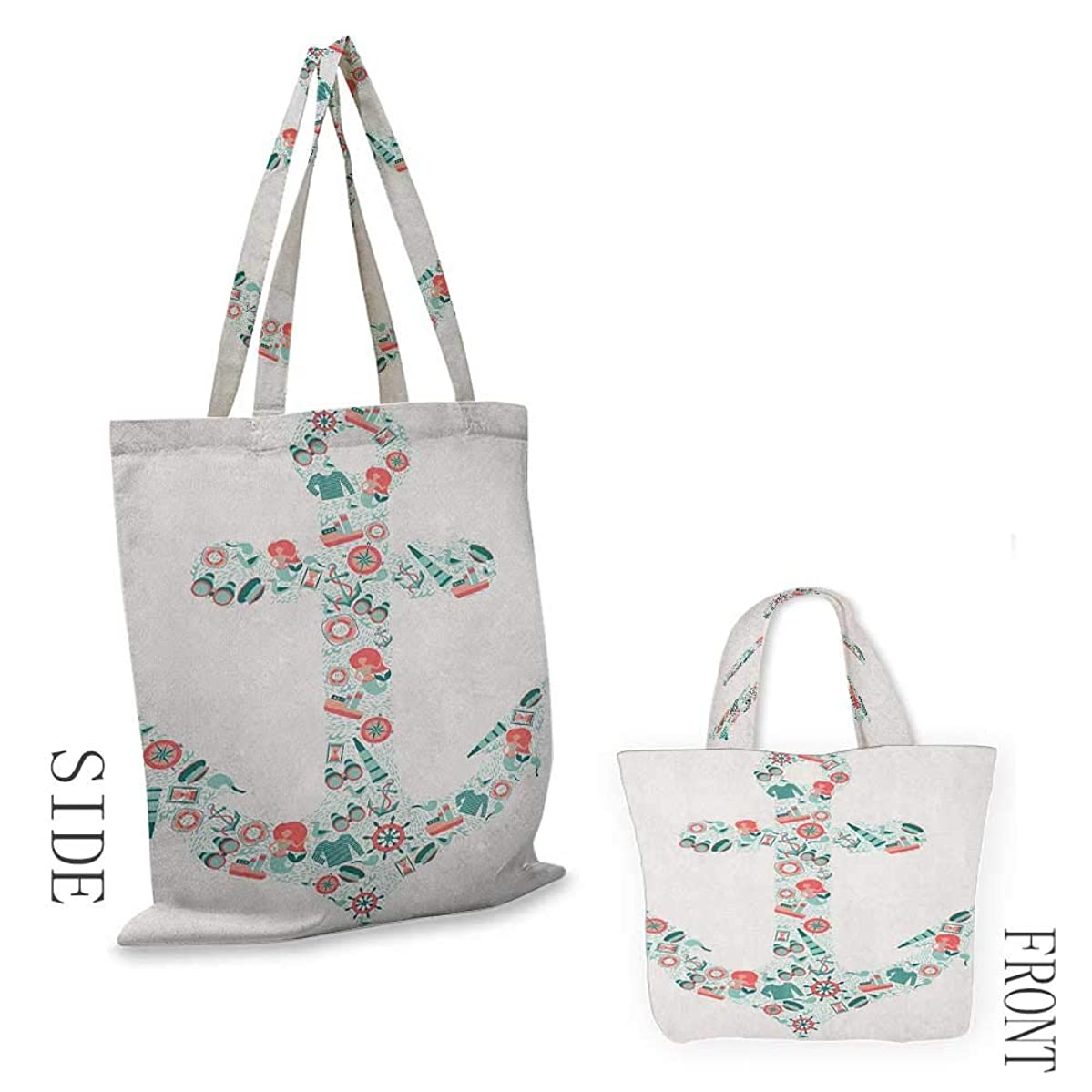 """Tote bag AnchorNautical Icon Shape with Binoculars Captain Hat Compass Mermaid Figures Seafoam Coral Teal18""""W x 16""""H"""