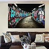ganlanshu Pintura sin Marco HD póster Personas Caminando en el Pasillo Graffiti Lienzo Mural Sala de Estar decoración de la habitación de los niñosCGQ8375 60X90cm