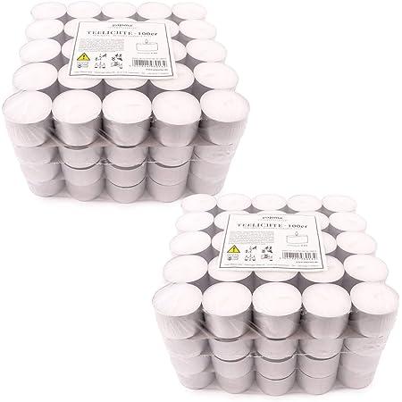 Pajoma Lot de 200 bougies chauffe-plat non parfumées, durée de combustion : 8 heures max. Bougie chauffe-plat Gastro