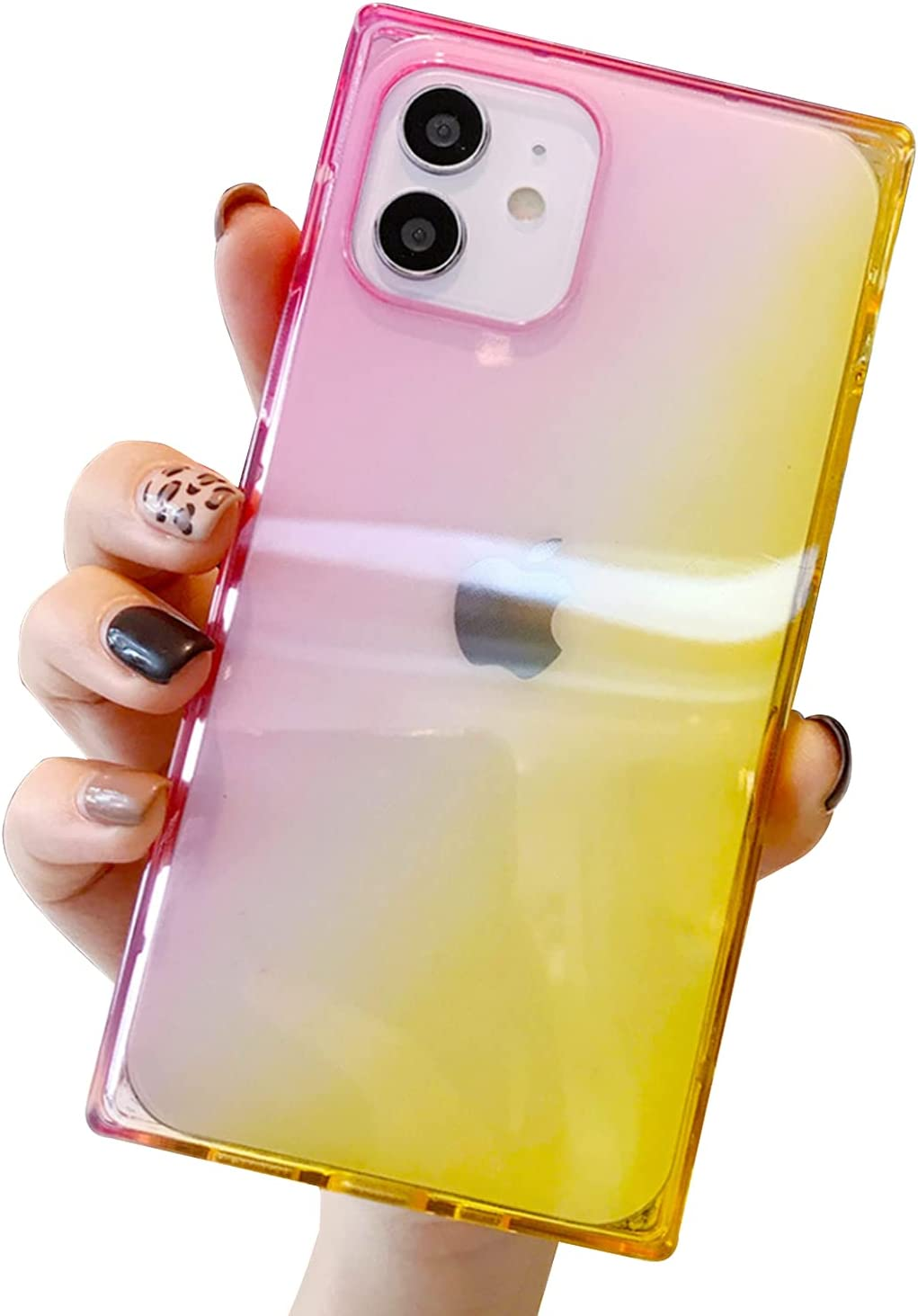 iPhone 12 Pro Max Case 6.7 inch 2020 Clear Square Case Reinforced Corners TPU Cushion Gradient Cover Compatible with iPhone 12 Pro Max (Pink-Yellow)