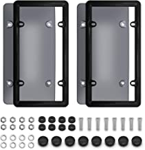 YULU Smoked License Plate Cover Frame Shield Combo, 2-Pack Premium Unbreakable Quality Novelty Black Bubble Shield and Frame, Fits Any US Standard 6x12 Inches License Plates, Screws Included