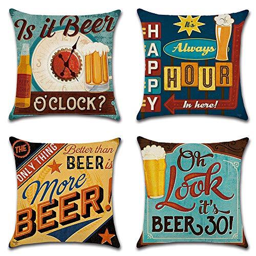 HZDHCLH – Juego de 4 fundas de cojín de 45 x 45 cm, algodón y lino decorativo para sofá, coche, salón, cerveza