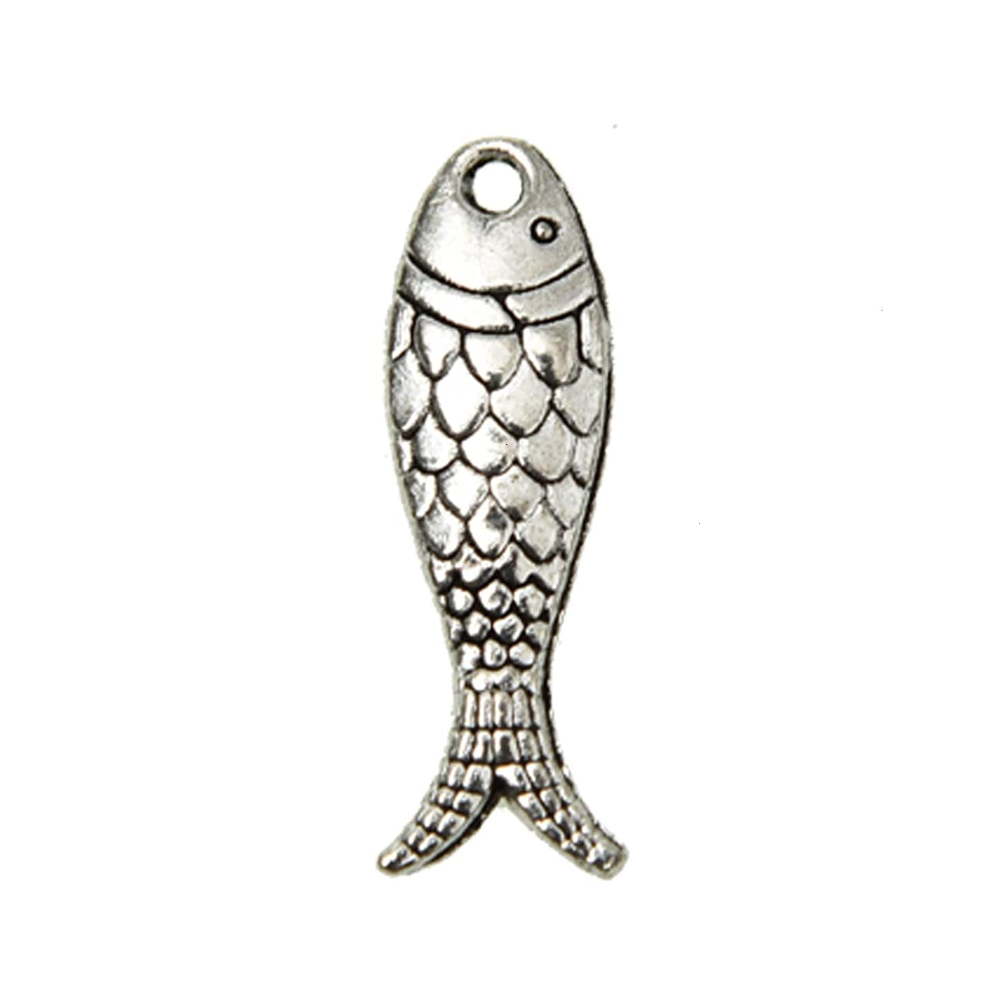 Monrocco 60Pcs Antique Silver Alloy Fish Charms Sea Animal Charms Pendant Ocean Fish Charm Jewelry Findings for Jewelry Making Necklace Bracelet 23.5x7mm