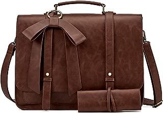 SOSATCHEL Women Briefcase Bag Faux Leather, 15.6 Inch Laptop Crossbody Shoulder Bag, Brown