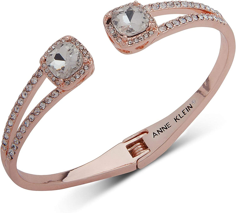 Anne Klein Crystal & Pavé Hinged Bangle Bracelet