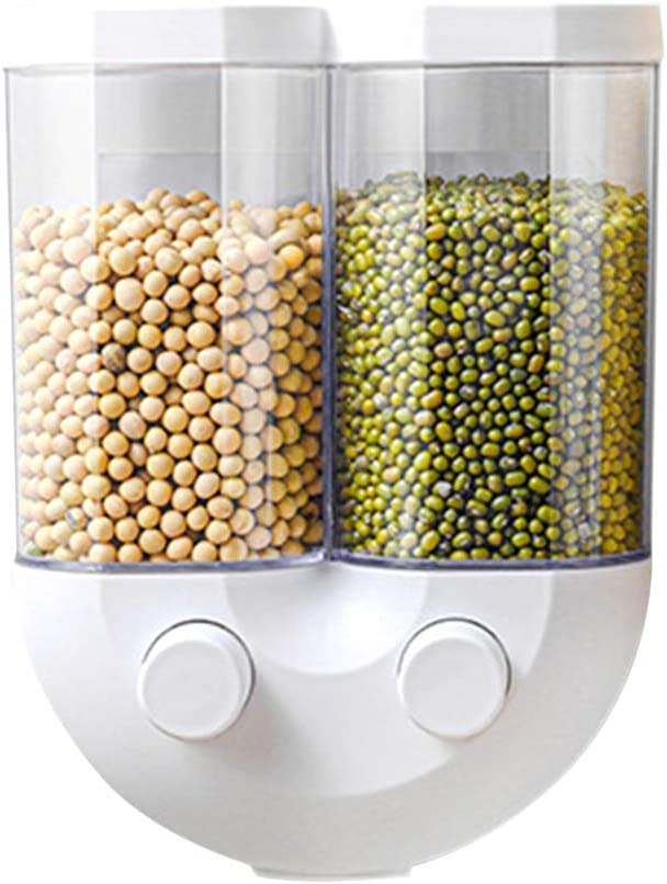 LZYANG Tipo de Presse Doble Frascos de Almacenamiento de Granos Montado en la Pared Dispensador de Alimentos de plástico Cocina Arroz Nueces Caja de Almacenamiento de Caramelos (Blanco,pequeño)