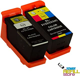 Toner Refill Store Replacment 2 Pack Dell Series 21, Series 22, Series 23 Compatible Ink cartridges for the V313, V313W, V515W, P153W, P713W. By Northland Wholesale