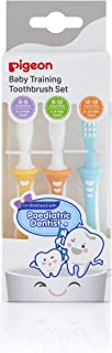 Pigeon 3-Step Training Toothbrush Set for Each Stage of Your Baby's Oral Development, 3-Pack