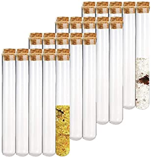 20PCS 25ml Glass Test Tubes with Cork Stoppers,20×180mm Round Bottom Test Tube for Scientific Tests,Candy,Bath Salt,Cultivated Plants