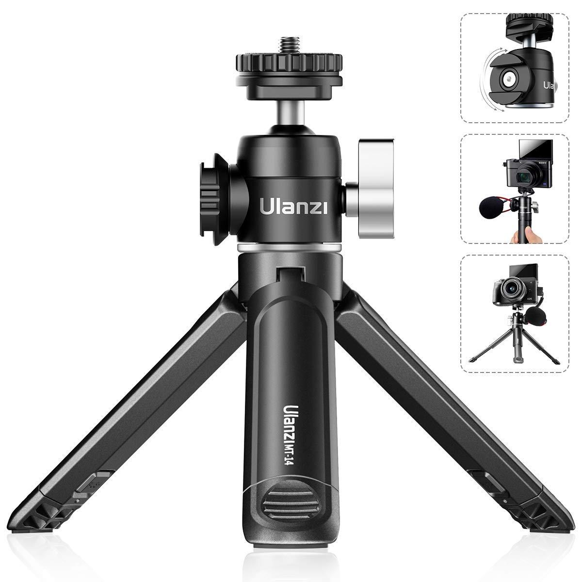 Mini Tripod, ULANZI Mini Camera Tripod with 360° Ball Head & Cold Shoe, Extendable Small Selfie Stick Tabletop Tripod…