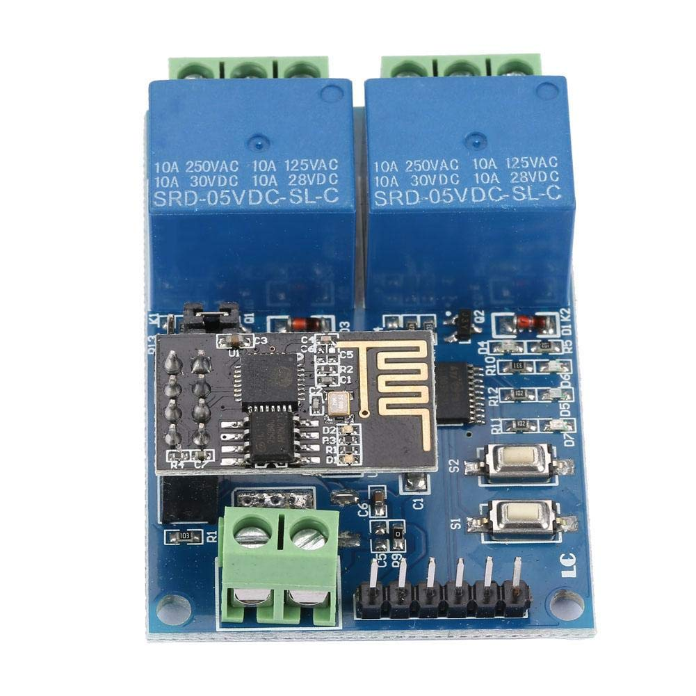 Broco M/ódulo de rel/é m/ódulo de control remoto inal/ámbrico de la aplicaci/ón WiFi Smart Home M/ódulo de control remoto 5V ESP8266 M/ódulo de rel/é WiFi de doble canal IOT Interruptor remoto de la aplicaci