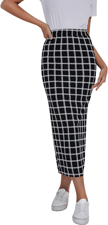 SheIn Women's Basic Plaid Midi Bodycon Pencil Skirt