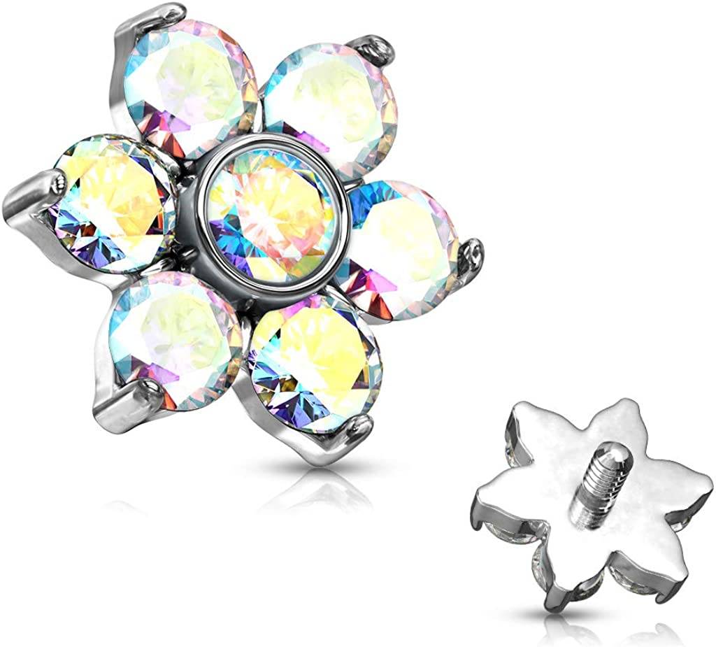 Covet Jewelry Zircon Prong Flower Surgical Steel Internally Threaded Top Parts for Labret, Dermal and More