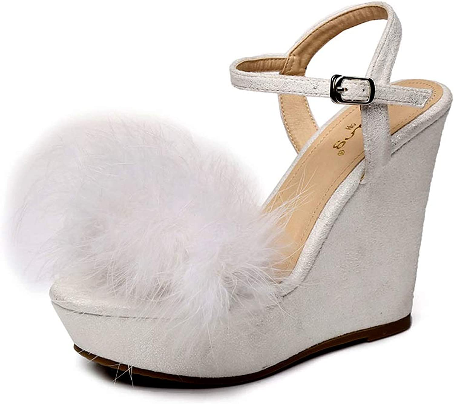 High Heels Fashion Ladies Wedge Sandals Personality High Platform Sandals High Heels Summer 12Cm Casual High Heels Personalized Girl Platform shoes Wild Clothes (color   White, Size   37)