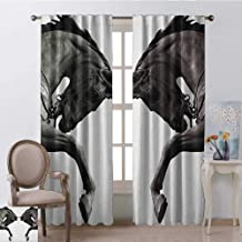 GUUVOR Sculptures 99% Blackout Curtains Twin Contrast Horse Heads Statue Image Vintage Style Abstract Art Antique Theme for Bedroom Kindergarten Living Room W52 x L108 Inch Bronze