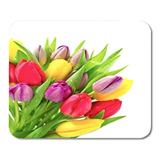 Mouse Pads Yellow Birthday Colorful Bouquet of Fresh Spring Tulip Flowers with Water Drops on White Green Blossom Mouse Pa...