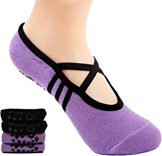 Calcetines Pilates Yoga Antideslizantes Traspirable Mujer para Barra Ballet Danza (2 Par)