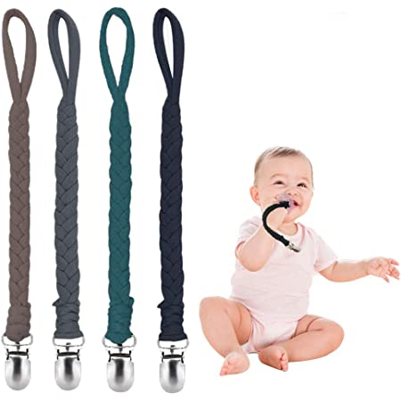 Pacifier clip made of cute baseball print on red and blue ribbon and matching red hand crochet trim.