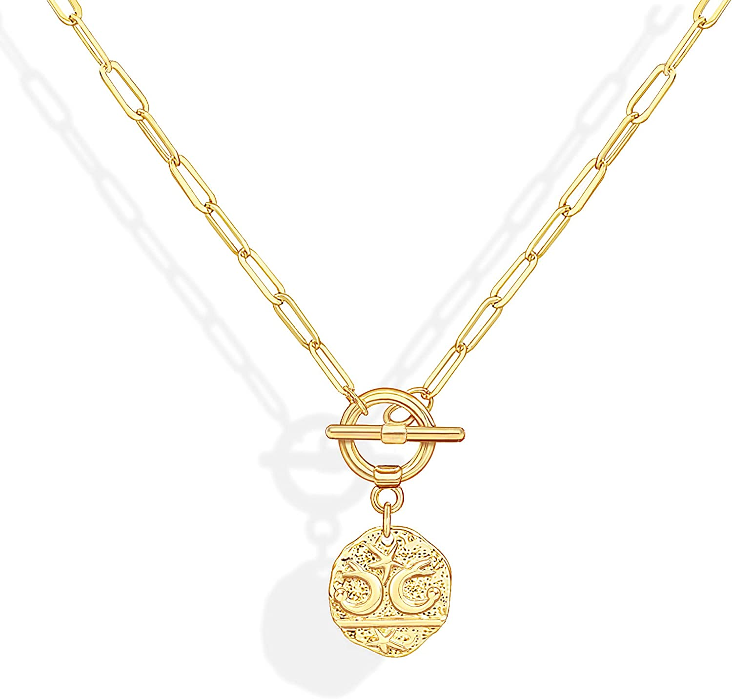 JSJOY Gold Layered Necklace for Women 14K Gold Plated Layered Coin Necklaces Adjustable Multilayer Choker Necklaces for Women Girls