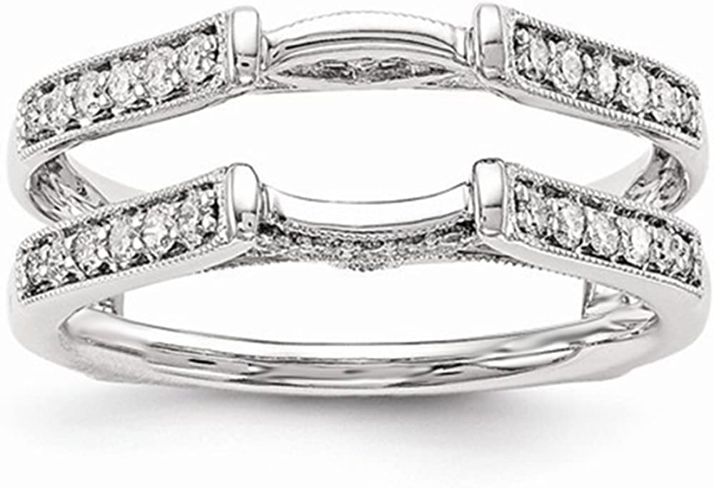 Antique Vintage Cathedral Ring Simulated Diamonds Guard Solitaire Enhancer 14k White Gold Plated