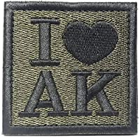 ベルクロ I LOVE AK ミリタリー ジョーク パッチ カラシニコフ