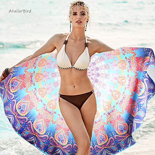 AtailorBird Toalla de Playa de Microfibra,Diámetro 150cm Toalla de Piscina Grande Mandala Esterilla de Yoga, Seque Rápidamente, Absorbente,Prevención de Arena para Viaje, Picnic(Patrón 1)