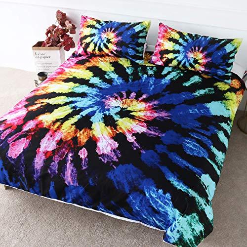 Blueberry tie-Dye literie bohème Hippie tie-Dye literie 3 pièces Ensemble garçon Abstrait Housse de Couette 4 200x200cm+2X (50x75cm)
