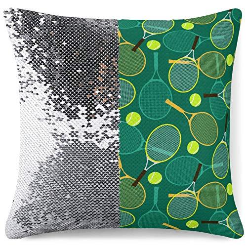 QUEMIN Raquetas de Tenis y Pelotas Funda de cojín Suave Fundas de Almohada Throw Pillow Decoración Funda de Almohada Decoración del hogar 15,7 X 15,7 Pulgadas / 40 X 40cm